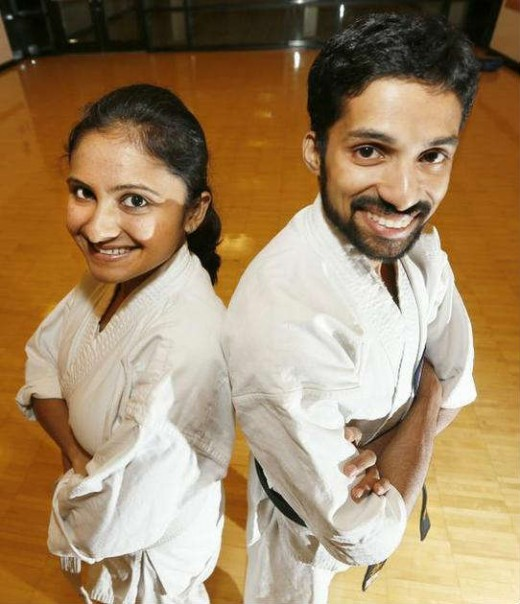 Priya Thekkumparambath Mana and her husband Arun Devaraj of Richland enjoy karate training together. ANDREW JANSEN — Tri-City Herald