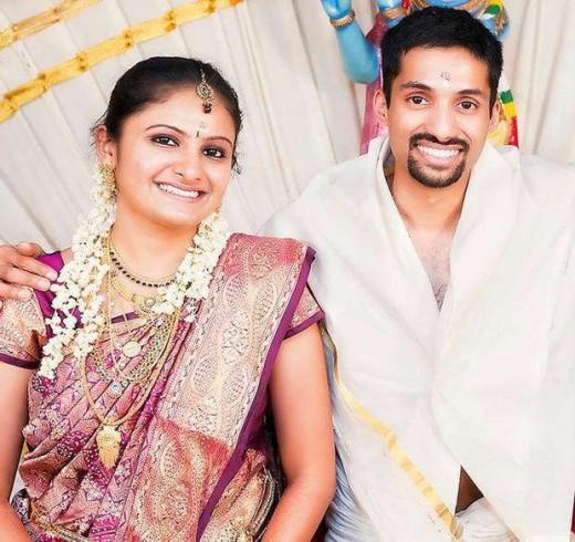 Priya Deveraj and her husband, Arun, on their wedding day. COUTESY GAURAV GUPTA
